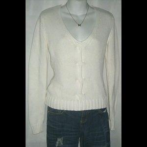 Michael Kors White Knit Sweater Low Cut Cotton S